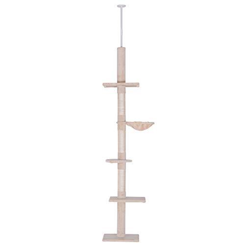 Pawhut Katzenbaum, Kratzbaum mit Sisalsäulen, Katzenkratzbaum, Katzen Kletterbaum, Deckenhoch höhenverstellbar, Beige, 40 x 34 x 230-260 cm
