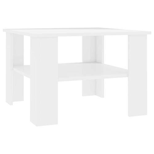 Tidyard Mesa de Centro Mesas de Comedor de aglomerado Blanco Brillante 60x60x42 cm