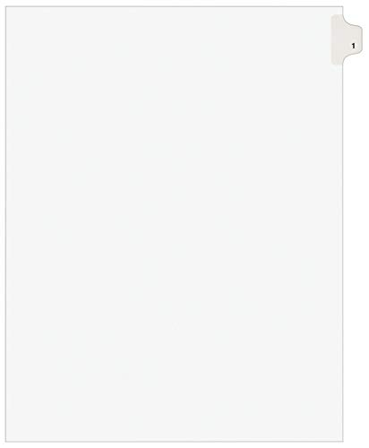 Avery(R) Side Tab Legal Index Exhibit Dividers, Tab Title 1 Pack Of 25