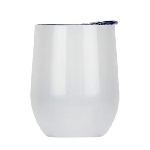 joyMerit Envase del Vino de La Taza del Vacío de La Forma de La Cáscara de Huevo del Té del Jugo del Vino del Acero Inoxidable - Blanco, Individual
