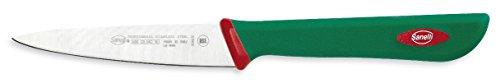 Sanelli Premana Professional Coltello Spelucchino, Acciaio Inossidabile, Verde/Rosso, 10 cm