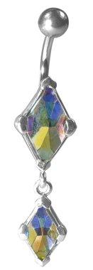 Navel zilver 925 piercing met Swarovski Elements Kite Draak - Rainbow