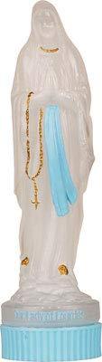 Cross My Heart 14 cm 40 ml Acqua Santa di Lourdes, bottiglia di plastica con coperchio blu con illustrazione, biglietto di preghiera LOURDES e medaglietta e spilla in peltro da 2 cm