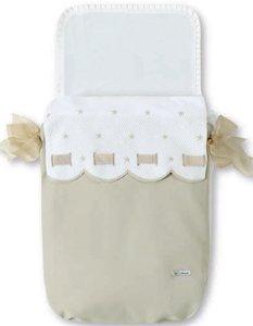 Bimbi Class - Colcha capazo, blanco y lino