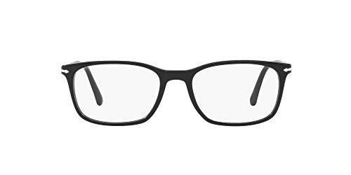 Persol PO3189V Square Prescription Eyeglass Frames, Black/Demo, 55 mm