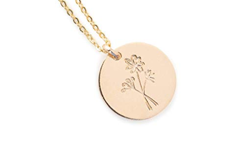 Gold Dainty Wildflower Necklace - Minimalist Dainty Jewelry for Women - Gift for Her - 18 inch chain