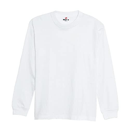 ヘインズ Hanes ビーフィー Tシャツ ロングスリーブ クルーネック ビッグサイズ 長袖 イ(WH-ホワイト、XXL)
