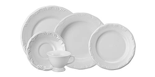Serviço de Jantar e Chá 20 peças Porcelana, Branco, Schmidt