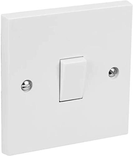 Invero 1 Gang 2 Way Electric Wall Light Switch White Rocker Standard Square 10 Amp