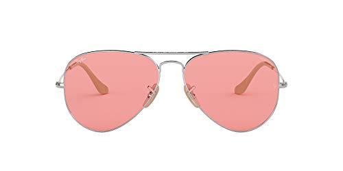 Ray-Ban RB3025 Classic Evolve Polarized Aviator Sunglasses, Silver/Pink Photochromic, 55 mm