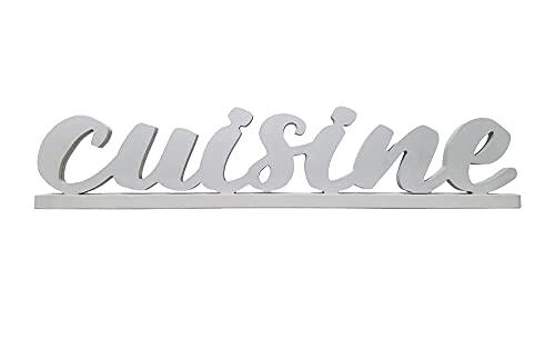 Scritta CUISINE in fibra di legno stabile con base Decorazione cucina da appoggio 3d intagliata in stile moderno shabby country sagomata 46x10cm per cappa, mensola, tavolo, mobile