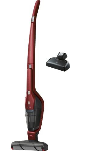 AEG Ergorapido QX8-1-45CR 2in1 Akku Staubsauger / beutellos / Elektrosaugbürste / bis zu 45 min Laufzeit / freistehend / 180° Drehgelenk / schonende Bürstenrolle / Aufnahme großer Partikel / rot