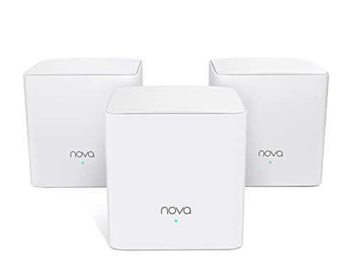 Tenda Nova mw5s (3 Pack) auténtica Banda Dual Malla WiFi (hasta 300 m², AC1200, de Alexa, Gigabit LAN/WAN, QoS, para Casas, oficinas, Viviendas) Equivalente a Router, Power Line & Repetidor