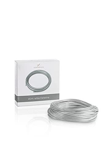 Lengenstein® Cuerda para tender de 40 m con núcleo de poliéster y revestimiento de plástico, para el hogar y el jardín, 3 mm de diámetro, resistente y robusta, color gris