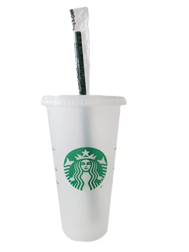 Starbucks Reusable Frosted 24 oz Cold Cup with Lid and Green Straw w/Stopper