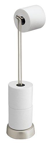 mDesign Porta Carta igienica autoportante con Dispenser – Pratico Porta Rotolo Bagno – Colore: Satinato – Funzionale portarotolo Carta igienica da Terra