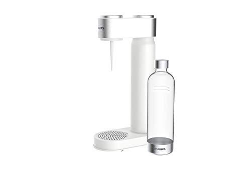 Philips GoZero - Máquina de agua con gas, Sifón de cocina, Dispensador de Soda, Soda maker, Máquinas para hacer soda, Bebidas carbonatadas, Botella de agua sin BPA, 1 Litro, Blanco