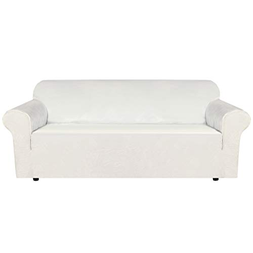 H.VERSAILTEX Stretch Velvet Sofa Covers for 3 Cushion Couch Covers Sofa Slipcovers with Non Slip Straps Underneath The Furniture, Crafted from Thick Comfy Rich Velour (Sofa 72'-96', Ivory)
