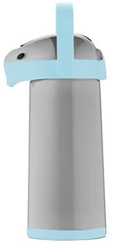 Helios Airpot Thermos a Pompa, Grigio/Azzurro, 1,9 Liter
