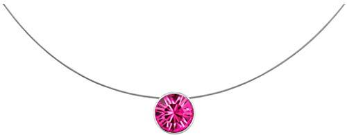 petra kupfer Kurze Damen Kette Anhänger Schwebender Kristall Stein Echter Swarovski Crystal pink stah1-fuchsia