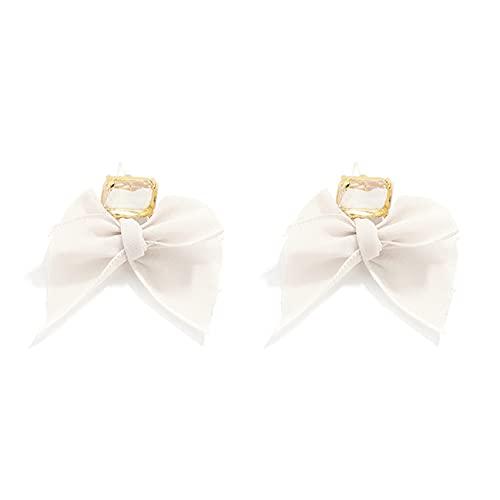 LPOQW Pendientes de lazo para mujer, encantadores de encaje con lazo, joyería de regalo, gancho para orejas, diamantes de imitación, para mujer, fiesta, fecha, accesorios de plata, color beige