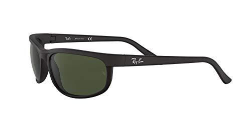 Ray-Ban Men's RB2027 Predator 2 Rectangular Sunglasses, Black/Matte Black/Green, 62 mm