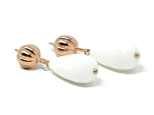 Orecchini pendenti in argento rosato con gocce di agata bianca