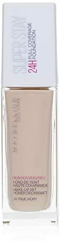 Maybelline New York Make Up, Super Stay 24h Make-Up, Flüssige, langanhaltende Foundation, Nr. 03 True Ivory, 30 ml