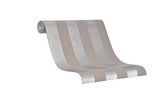 Tapete Braun Vliestapete Silber Streifen Streifen Modern La Veneziana IV von marburg Made in Germany 10,05m x 0,53m 31328