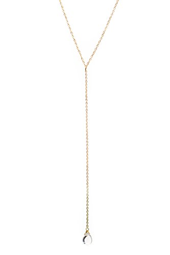 Benevolence LA Gold Chain Necklace - 14K Gold Dipped Y Necklace Water Droplet Pendant with Lariat Style Chain Necklace Dainty, Hand Wrapped Celebrity Approved and Eco Friendly (23)