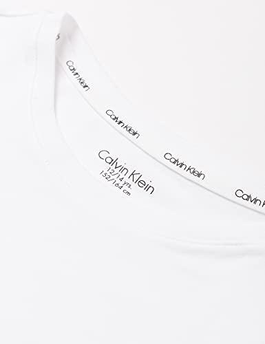 Calvin Klein Knit PJ Set (SS+Pant) Juego de Pijama, Pvhwhite/W/Ckrepeatblackaop, 12-14 Jahre para Niñas