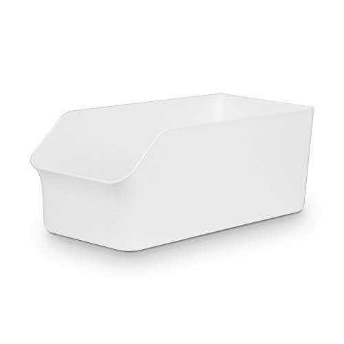 Baskiss 食品収納ラック 冷蔵庫トレー パントリー ストッカー キャビネット キッチン整理ボックス シンク下収納ケース 缶ジュース ホルダー 小物 収納 オーガナイザー 白/ホワイト (白-Size M)