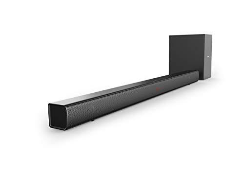 Philips Soundbar Bluetooth HTL1510B/12 Bluetooth Soundbar (Bluetooth, Kabelloser Subwoofer, Audioeingang, Flexible Positionierung, Flaches Design) Schwarz