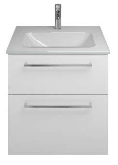 Burgbad Eqio Glas-Waschtisch inklusive Waschtischunterschrank SEYX062, Breite 620 mm, Farbe (Front/Korpus): Weiß Hochglanz/Weiß Glänzend, Stangengriff Chrom P95 - SEYX062F2009P95