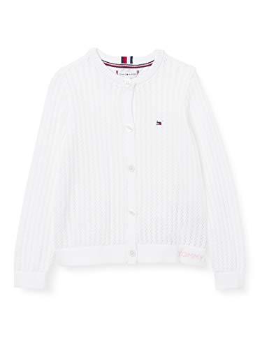 Tommy Hilfiger Essential Pointelle Cardigan Suéter, Blanco, 80 cm para Niñas