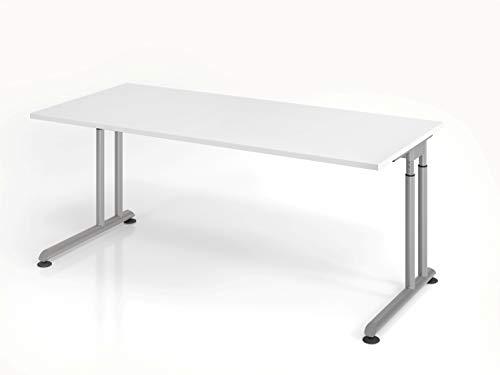 Hammerbacher Schreibtisch C-Fuß 180x80cm Weiß/Silber