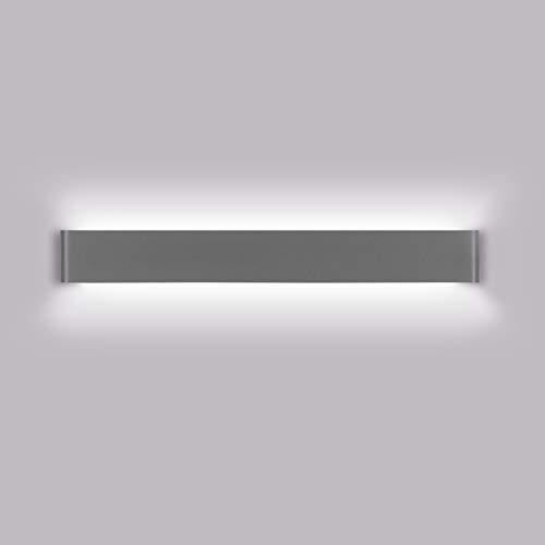 K-Bright Moderne Innen wandleuchten, 20W Licht, 120 Grad Winkel, AC 85-265V, Wasserdichte Wandleuchte IP44 Aluminium Wandleuchten 61cm, Dunkelgrau, Naturweiß