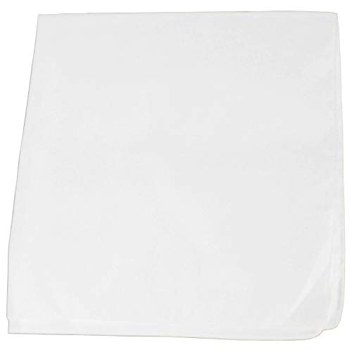 Solid 100% Cotton Unisex Bandana - 12 Pack White 22 in