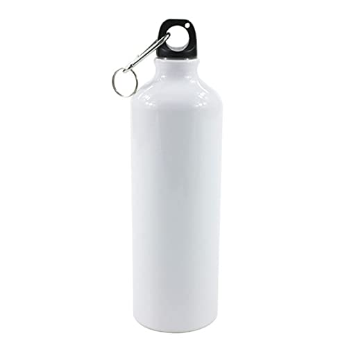 CCLIN 400/500/600/750ml White Blank Sublimation Water Bottle with Screw Carabiner Hook Aluminum Outdoor Sports Leakproof Kettle