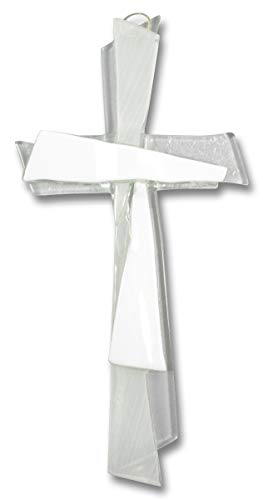 Motivationsgeschenke Kreuz aus Glas Kreuz weiß 21 cm Wandkreuz Modern Kruzifix Glaskreuz