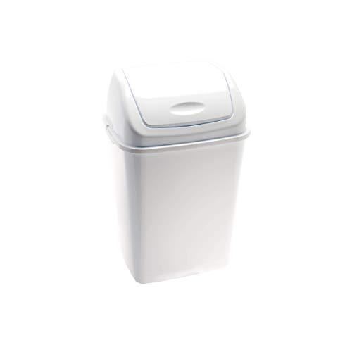 Jofel Papelera plástico Tapa basculante 50L, Polipropileno, Blanco, único