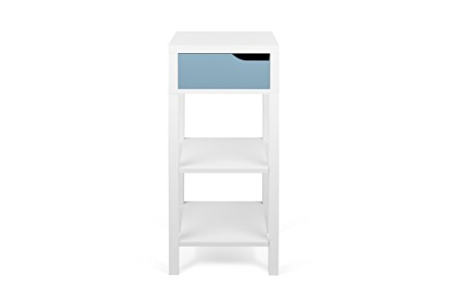 TemaHome Basics Haute Table de Chevet Table de Nuit, 34 x 34 x 80 cm, Blanc/Bleu