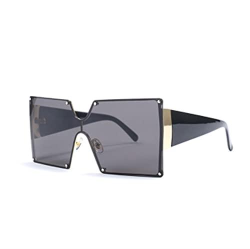 FDNFG Moda Cuadrada Gafas de Sol Mujeres Degradado de Gran tamaño Azul Negro de una Pieza Gafas de Sol Tonos de Estilo UV400 Gafas de Sol (Lenses Color : Black)