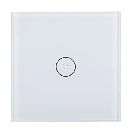 Interruptor de Control de Voz, Interruptor táctil multifunción Interruptor WiFi Voz, Control de Aplicaciones táctiles para la casa y la Oficina(Blanco)