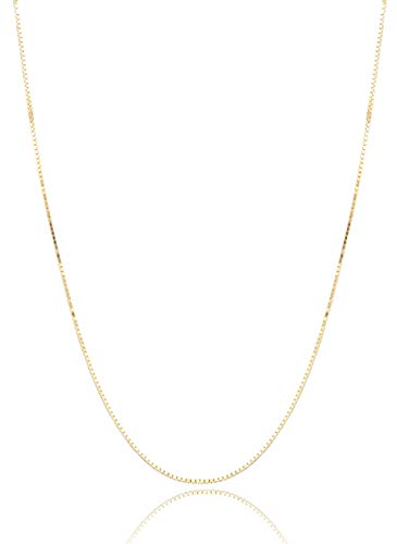Sllaiss Box Chain 925 Sterling Silver Necklace For Women Gold Plated Necklace Thin 14K Box Gold Chain 18'' Spring Clasp