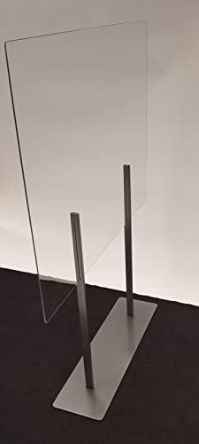 """Plexiglass Partition Dividers 61""""H x 48""""W - Clear Screens Sanitation Walls/Great for Offices, Salons, Clinics, Nail Salons, and Restaurants (Grey)"""