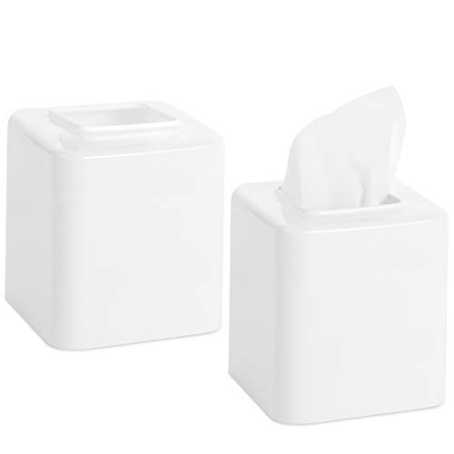 Youngever 2 Pack Tissue Box Covers, Plastic Square Tissue Box Holders, Square Napkin Box Holders