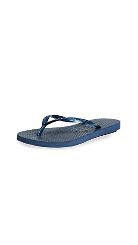 Havaianas Womens Slim Open Toe Beach, Navy Blue, Size 11.0