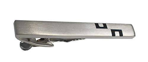 Unbekannt edle Krawattennadel Krawattenhalter silbern matt + schwarz gelackt + Silberbox