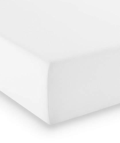 fleuresse Premium Jersey-Elasthan Spannbettlaken - alle Größen und viele Farben - Comfort 180x200 cm Weiß